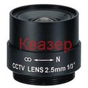 "EVD0256F 1/3"" CCTV 2.5 mm, F2.0, CS mount, Fixed Iris Lens"