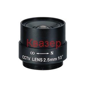 "EVD0256F Обектив 1/3"" CCTV 2.5 mm, F2.0, CS mount"