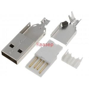 USBA-W Съединител USB A, мъжки прав за запояване на кабел