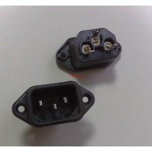 Захранваща букса мъжка за панел 3 PIN/ IEC 60320, C14, 250VAC, 10A