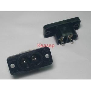 Захранваща букса мъжка за панел 2 PIN евро/ IEC 60320 C8, 250VAC, 2.5A