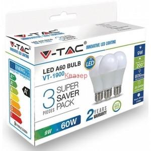 LED лампа 9W A60 E27 ПЛАСТИК 4000К 3БР