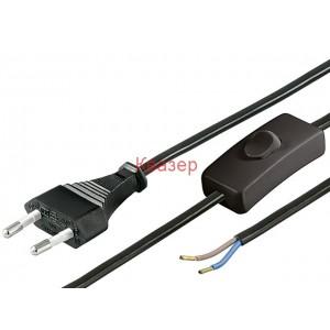 Захранващ кабел с ключ, H03VVH2-F 0.75кв.мм 1.5м с евро щесел 250V/2.5A