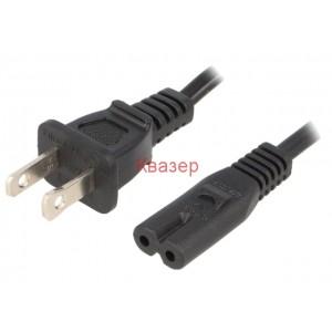 Захранващ кабел NEMA 5-15 (B) щепсел, IEC C7 женски, 2m