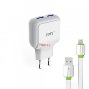 Мрежово зарядно устройство EMY MY-220 5V 2.4A, Универсално, 2 x USB, С кабел за iPhone 5/6/7, Бял