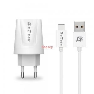 Мрежово зарядно устройство, DeTech, DE-01C, 5V/2.1A, 220V,2 x USB, С Type-C кабел, 1.0m, Бяло