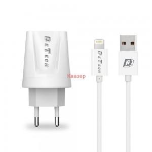 Мрежово зарядно устройство, DeTech, DE-01i, 5V/2.1A, 220V, 2x USB, С Lightning кабел, 1.0m, Бяло