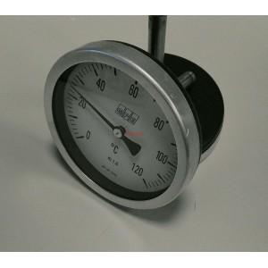 Биметален аксиален термометър 0-120°C ф100мм L76мм