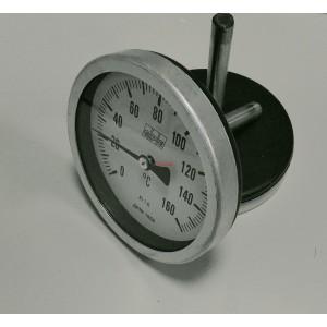 Биметален аксиален термометър 0-160°C ф100мм L76мм
