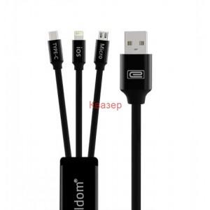 Кабел USB A мъжки към USB Type-C + USB за IPhone 5/6/7/SE + USB MicroUSB (три в едно)