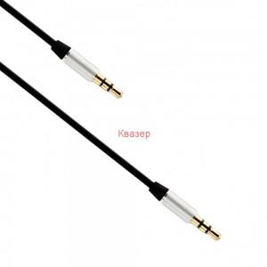 Аудио кабел, Earldom, AUX15, 3.5mm жак, М/М, 1.0м, Черен