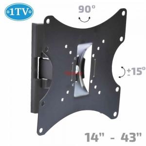 """Въртяща Стойка за Телевизор 14-43"""" инча, до 15кг, 1TV-100, наклон +/-15°, завъртане 90°"""