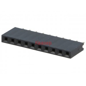 CONNFLY DS1023-1*10S21 Гнездо щифтово женско 10PIN (1x10) право 2.54mm THT