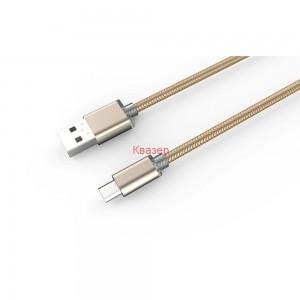 Кабел за данни, LDNIO LS17S, Micro USB, 2.0m, С оплетка, Сребрист, Златист