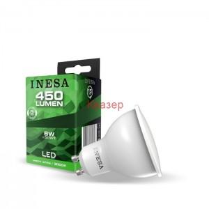 LED лампа GU10 6W 450lm 3000K 38гр.  INESA