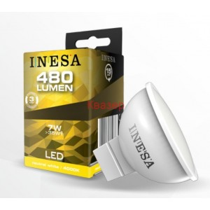 LED лампа Ф50 MR16 GU5.3 12V 7W 480lm 6500K 105гр. INESA