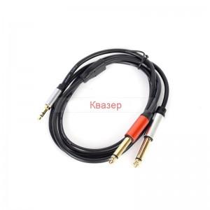 Аудио кабел Mono Jack 2 x 6.3mm мъжки към 3.5mm стерео мъжки, 1 метър
