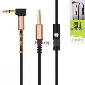 AUX кабел с микрофон, Аудио кабел Stereo Jack 3.5mm, 90 градуса, позлатени конектори, черен, 1 метър