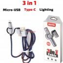 USB - Micro USB кабел + букси за iPhone и Type-C, 1 метър, hsx-005