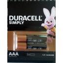 Алкална батерия AAA LR03 DURACELL 2бр