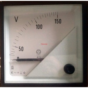 Волтметър 0-150V AC, аналогов панелен 72x72mm