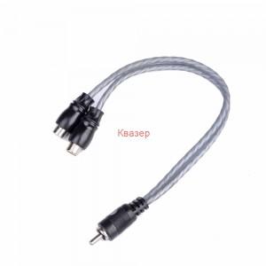 Аудио кабел разклонител на чинчове, високо качество, 2RCA женски -1RCA мъжки, 0.2 метра, силиконов